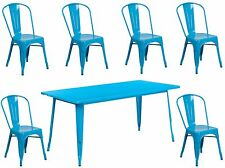 31.5'' x63''Industrial Crystal Blue Metal Outdoor Restaurant Table Set w/6 Chair