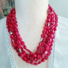 Red Flat Genuine Coral Bead 925 Sterling Silver 5 Strand Multi Layer Necklace
