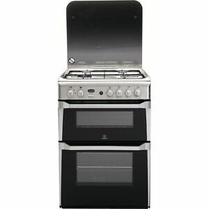 Indesit 60cm Double Oven Gas Cooker - Stainless Steel