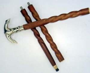 """Brass Vintage Twist Walking Cane Wooden Stick 36"""" Silver Handle"""