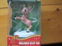 RUDOLPH THE RED-NOSED REINDEER JUMPING SNOWY CLIP ON CHRISTMAS HOLIDAY ORNAMENT