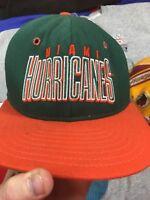 VTG 1990s AJD Miami Hurricanes NCAA Snapback Hat Multiply Logo's Rare