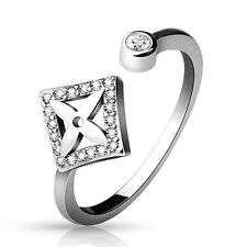 New .925 Sterling Silver Cz Paved Square w/Cross Adjustable Toe Ring (toe-12L)