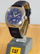 NEW Mens Caterpillar CAT R2-141 Dark Blue Leather Strap Date Racing Watch OFFER!