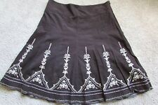 Ann Taylor Brown Corduroy Tan Embroidery 100% Cotton Full Skirt Sz 14 Lovely