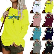 Womens Casual Dragonfly Print One Shoulder Tops Ladies Long Sleeve Loose Shirts
