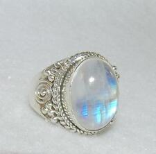 Balinese Rainbow Moonstone Oval Ring Sterling Silver Size 7.25