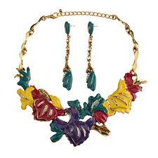 Juego Collar Pendientes Dorado Floral Hoja Esmalte Amarillo Azul Verde Barroco