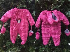 Disney Minnie Mouse 6 Months Baby Girls Snowsuit Outdoor Wear Winter Mitts Pink