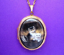 Porcelain 3 KITTENS CATS Feline CAMEO Locket Pendant Necklace for Birthday Gift