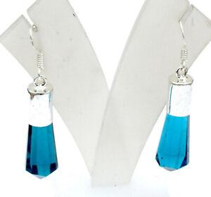 London Blue Topaz Gemstone Handmade Silver Plated Jewelry Earring S-2'