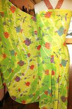 """Apparel Yellow And Green With Red Flowers Chiffon 44"""" Wide By Two Yards Panel"""