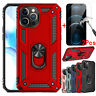 For iPhone 12 Pro Max Case Metal Ring Kickstand Cover+Tempered Glass Protector