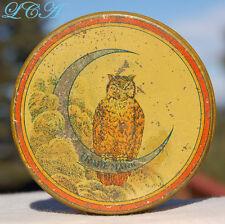 Antique GILLETT Saffron TIN w/ pic OWL on Crescent Moon HARD to FIND !