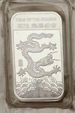 1 OZ .999 Pure Silver China Year Of The Dragon Bullion Bar 2012