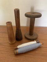 Antique Vintage Primitive Wood Metal Thread Spools Bobbins Textile Industrial 5