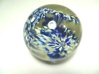 Vintage Clear Glass 3 White & Blue Flowers Paper Weight 2.5""