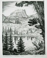 "Vtg. Orig. Etching by Lyman Byxbe - ""Hallett's Peak and Bear Lake"" - Mountains"
