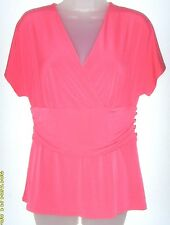 Women's small (4/6) coral vibrance short sleeve v-neck top (George)