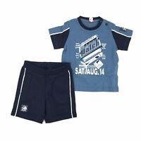 Completo con T-Shirt e Bermuda Blu Neonato Sarabanda G713