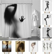 Sexy Lady Shadow Waterproof Polyester Bathroom Shower Curtain With Free 12 Hooks