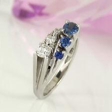 Ring in 585 Weißgold 14K mit 3 blauen Saphir Edelsteinen + 3 Diamanten Gr. 52
