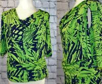 Joseph Ribkoff designer lime green and navy cold shoulder to size 10 12 14 NEW