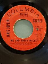 """JANIS JOPLIN 7"""" 45 RPM """"Me and Bobby McGee"""" & """"Half Moon"""" G+ condition"""
