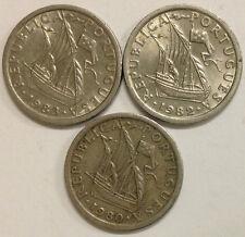 PORTUGUESA 2 1/2 ESCUDOS COIN SET/3 1980, 1983, 1983