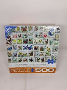 Butterflies Vintage Stamps 500 Piece Jigsaw Puzzle New !! SEALED