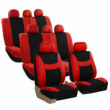 Red Black 8Seater Light & Breezy Flat Cloth 3 Row Seat Covers Split Bench