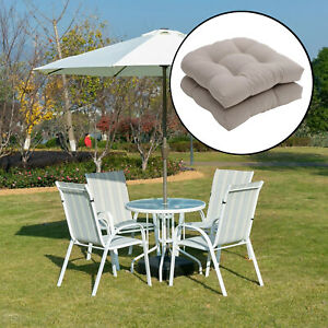 2pcs Solid Color Textured Tufted Pad Wicker Seat Cushions Round Back 48x48cm