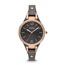 FOSSIL ES3077 Georgia Rose Gold Smoke Gray Leather Quartz 38mm Ladies Watch