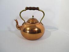 Copper Tea Kettle Teapot Gooseneck Wood Handle Vintage Portugal Country Decor