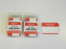 "200 RED ""HELLO MY NAME IS"" NAME TAGS LABELS BADGES STICKERS PEEL STICK ADHESIVE"