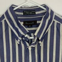 Faconnable Mens Designer Shirt LS Blue White Striped 17.5