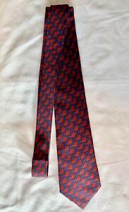 Hermès Paris Authentic Navy 7348 T1 Classic Red Pegasus 100% Silk Tie France