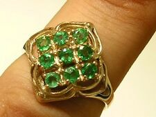 R156- Genuine 9ct Solid Gold NATURAL Real Emerald CLUSTER Ring size L