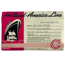 1950's Holland-America Line Luggage Label Original E19 Filled Out Cruise Ship