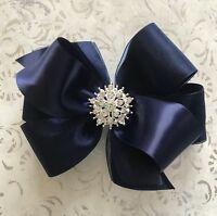 NAVY BLUE satin & organza hair bow rhinestone BIG 5 inch Christmas pageant