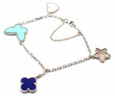 Authentic Van Cleef &Arpels Lucky Alhambra 18k Gold Lapis MOP Turquoise Bracelet