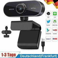 Webcam mit Mikrofon und Stativ, 1080P Kamera für PC Laptop Desktop, USB Computer