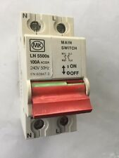 MK Sentry LN 5500s 100Amp Double Pole Isolator EN60947-3 100Amp Main Switch