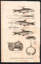 1801 Gravure originale trolling implements pêche outils leurres hameçons
