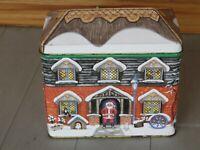 VTG SANTAS HOUSE TIN 5H x 5 3/8L  GALE PITT LONDON  WANSTEAD DOLL HOUSE TRAINS