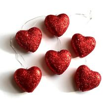 Red Glitter Heart Ornaments Set of 6 Valentines Day Decor Party Decorations NEW