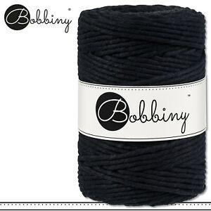 Bobbiny 100 m Makramee-Kordel 5 mm | Black | Hobby Basteln PREMIUM