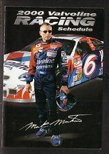 Mark Martin--2000 Valvoline Racing Pocket Schedule