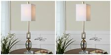 TWO RICH COFFEE BRONZE METAL & MERCURY GLASS TABLE LAMP LINEN SHADE DESK LIGHT