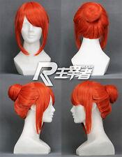 Gintama Kagura Pumpkin Orange Anime Bun Short Costume Cosplay Wig Free Ship +CAP